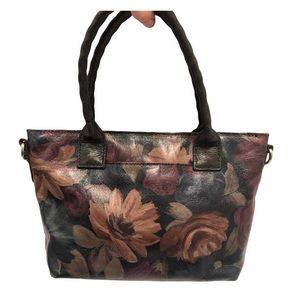 Patricia Nash floral painted leather tote bag